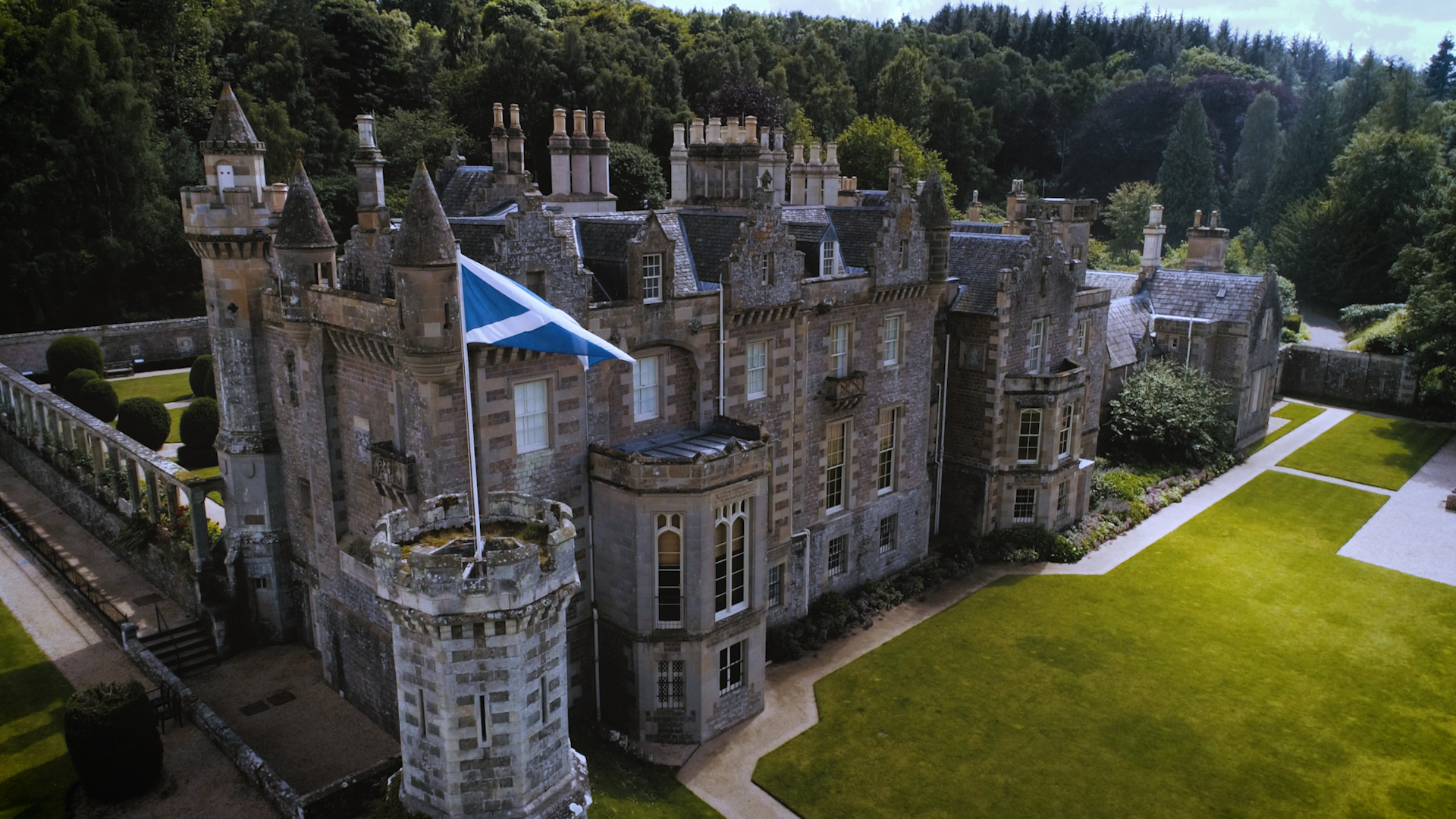Abbotsford House, home of Sir Walter Scott | Aerial Drone Filming | Borders, Scotland