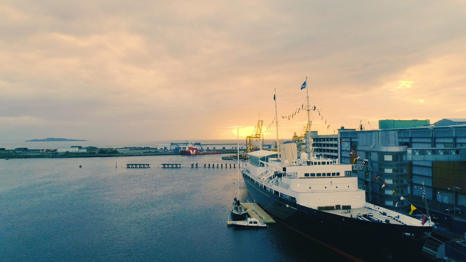 The Royal Yacht Britannia | Aerial Drone Filming | Leith, Scotland